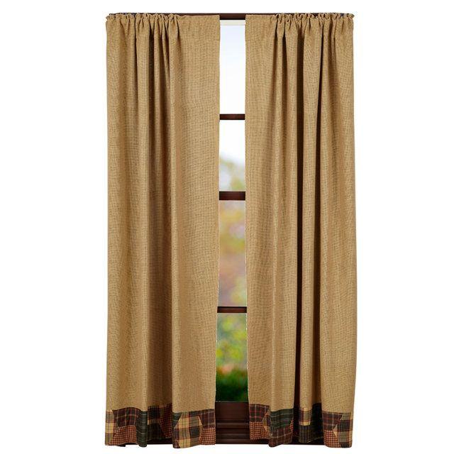 Declan Burlap Short Curtain Panels with Honeycomb Border 63