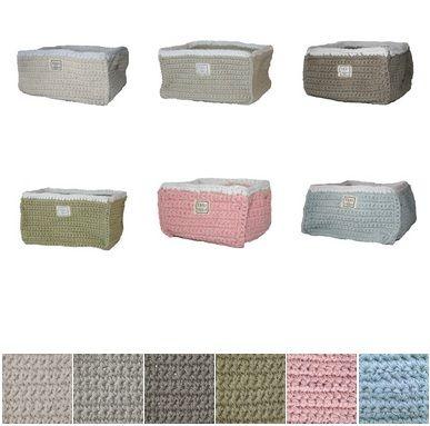 Gebreide opbergmand van Fair and Cute, verkrijgbaar in 6 kleuren! http://aukgaaf.com/nl/trends4kids-brocante-babykamer-landelijke-kinderkamer-complete-babykamers.html?brand=107