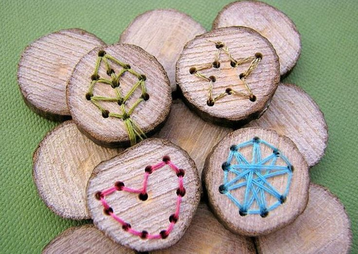 embroidered wood slices