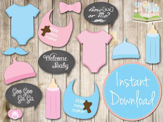 baby shower photo booth props in pink printable instant download