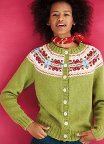 Fair Isle Cardigan by Yoko Hatta, knit in Berroco Ultra Alpaca, Vogue Knitting Holiday 2014