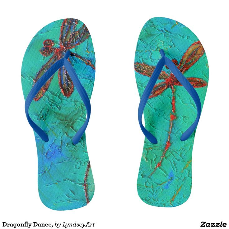 Dragonfly Dance Thongs! Gorgeous red and blue dragonflies on a mottled turquoise green and blue background. From my original dragonfly artworks. LyndseyArt #cute #thongs #jandals #flipflops