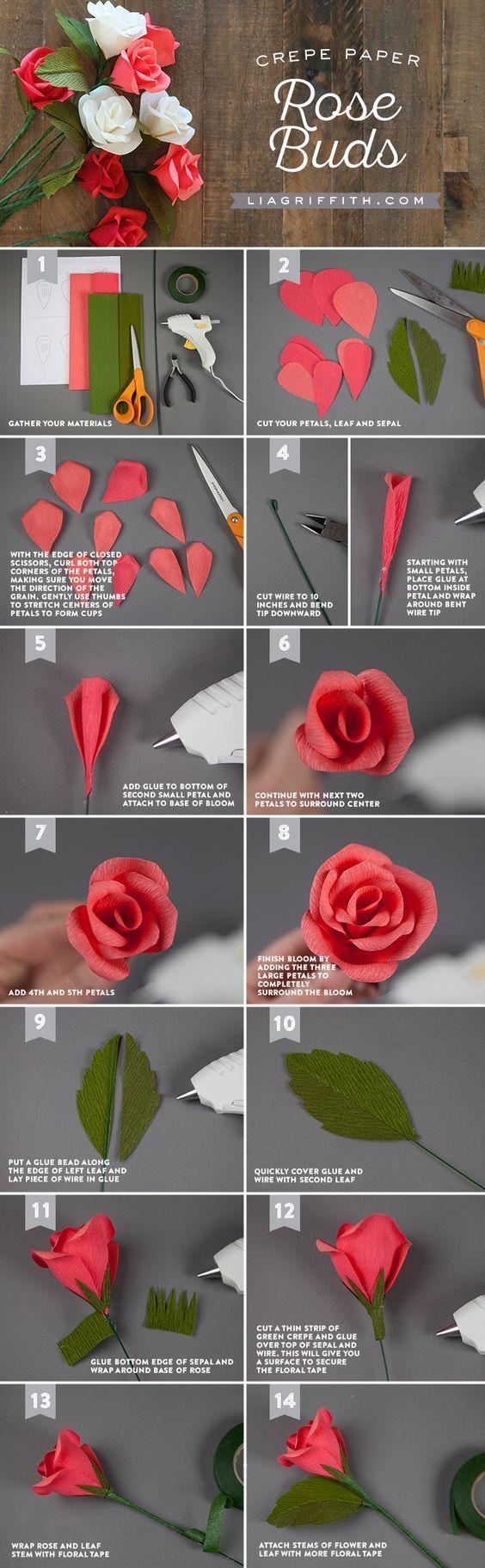 Handmade Crepe Paper Rose Buds Tutorial How To Make