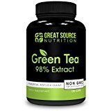 Green Tea Extract Supplement EGCG for Healthy Weight Loss by Great Source Nutrition  Natural Fat Burner Boosts Metabolism Promotes Healthy Heart Antioxidant Caffeine Source Non-GMO 500mg