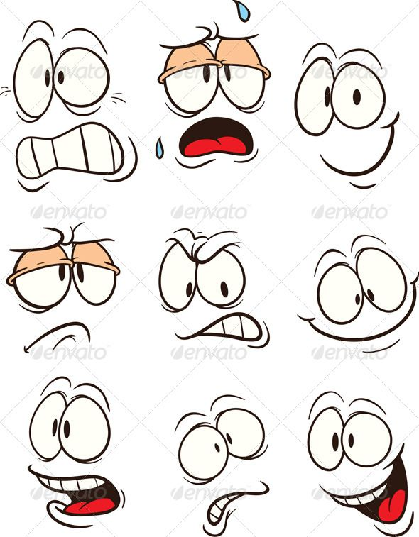 Cartoon faces with different expressions. Vector c…
