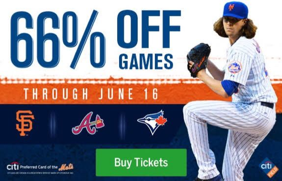 Save 66% On Mets Tickets June 9-16 At Citi Field - NY Mets, discounts, Citi Field, Baseline Box, Left Field Landing, Promenade Outfield