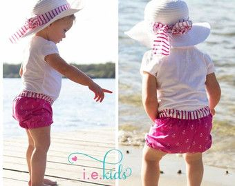 Baby & Toddler sewing patterns includes shorts, bloomers, pants & harem pants patterns. 4 awesome waistbands including topstitched waistband, exposed decorative elastic & stretch knit waistband. Pattern Emporium Tumble Bums. Awesome beginners sewing pattern for babies.