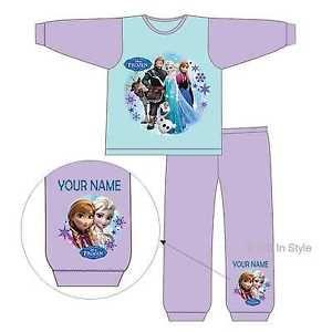a personalizado ninas oficial lisenced disney frozen elsa anna pijamas conjunto 1 4yrs