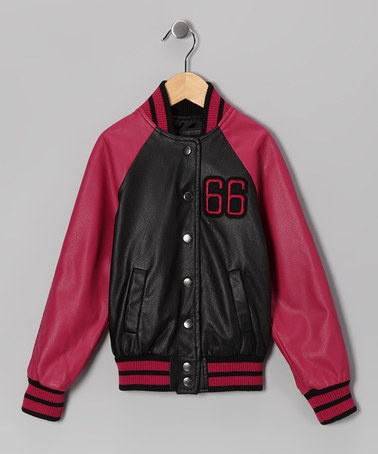 WOW! Nearly 80% off Today. Take a look at this Black & Fuchsia Letterman Jacket by Yoki on #zulily today!