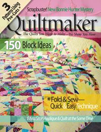 Quiltmaker March/April '13: 150 block ideas, quilts, table runner, wall quilts, tote bag! Giveaway today: http://www.quiltmaker.com/blogs/quiltypleasures/2013/02/the-math-of-150-quiltmakers-giveaway/