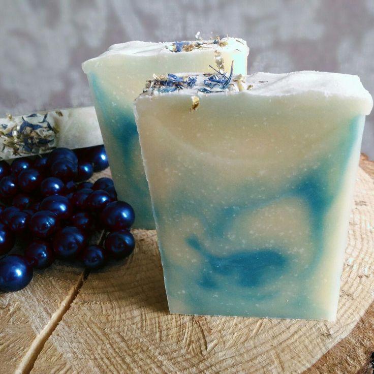 """Натуральное мыло """"Белый хлопок и синий лен"""""""
