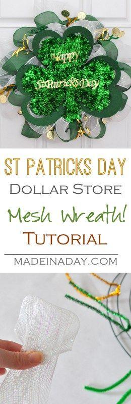 St Patrick's Day Dollar Store Mesh Wreath Tutorial