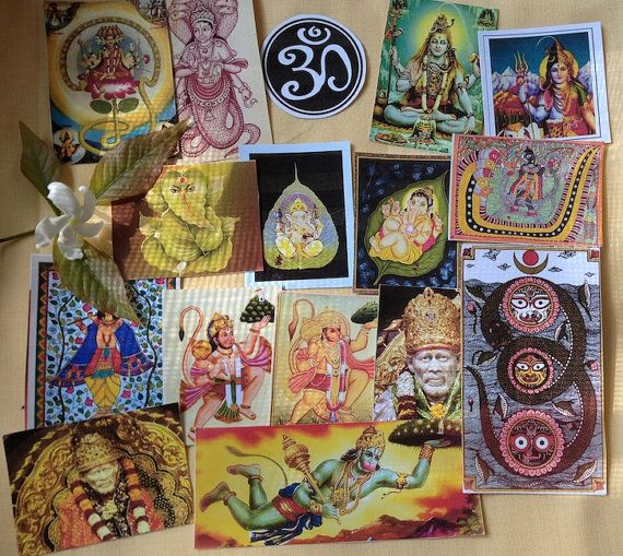 16 Hindu Yoga OM Shiva Hanuman Ganesh Naga Sai Baba  - 3 days left to order in time for xmas delivery <3 shop for good karma supports my work in rural india.