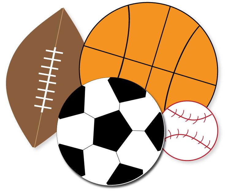 free sports clipart for parties crafts school projects websites rh pinterest com clip art black and white sports balls Cartoon Sports Balls