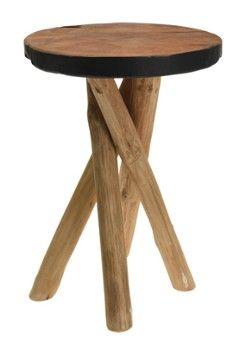 Stołek JERAMI drewno tekowe 42 cm - czar
