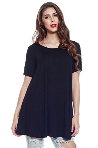 Shortsleeve Loose Flowy Stretch Knit Crewneck Tank Tunic