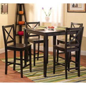 Virginia 5-Piece Counter-Height Dining Set, Black $299.00  Table in Inches (L x W x H): 	38.0 x 38.0 x 36.0 Chairs  in Inches (L x W x H): 	19.37 x 17.72 x 40.95  http://www.walmart.com/ip/16503435#ProductDetail