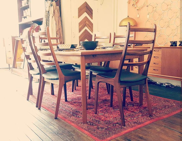 Mid century teak ladder back chairs and extendable dining table