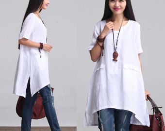 Loose fitting linen top cotton blouse linen tunic by newstar2016