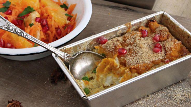 fiskegrateng med søtpotetmos og råkostsalat