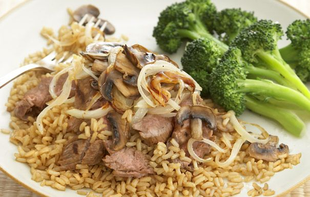 Grilled Flank Steak with Whole Grain Brown Rice and Mushrooms. Made ...
