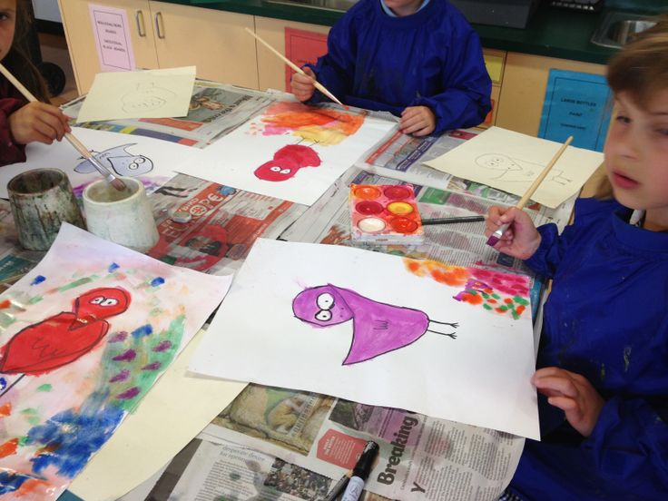 We have been looking at work by artist James Rizzi. I love these Rizzi inspired birds painted by the children in Grades One and Two.