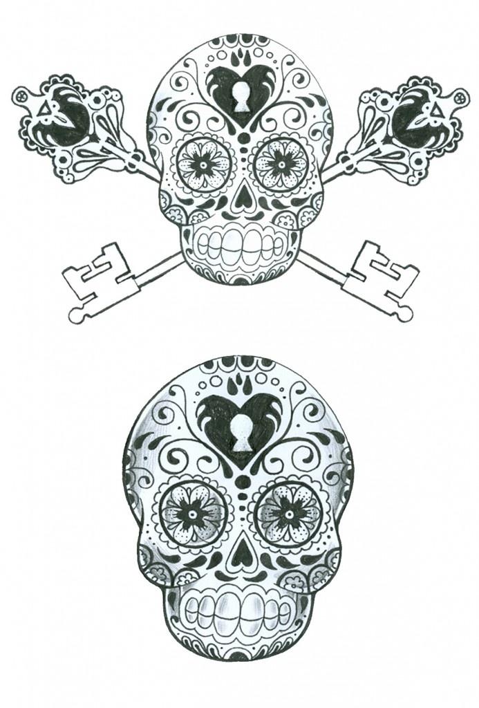 Black and White Sugar Skulls   Tattoos   Pinterest