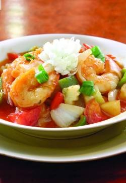 Sweet and Sour Shrimp Stir-Fry -- An abundance of sweet peppers, plus cauliflower, make this dish as healthy as it is colorful, easy and delicious.