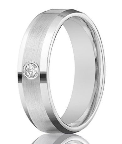 mens 14k white gold diamond band with satin finish 4mm jbd1011