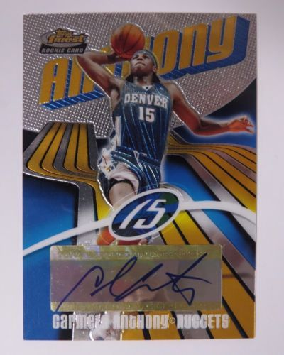 2004 Topps Finest Rookie Card CARMELO ANTHONY Denver Nuggets Autograph 731/999