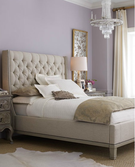 Guest room lavender and creamy taupe gray color scheme for Bedroom ideas lilac