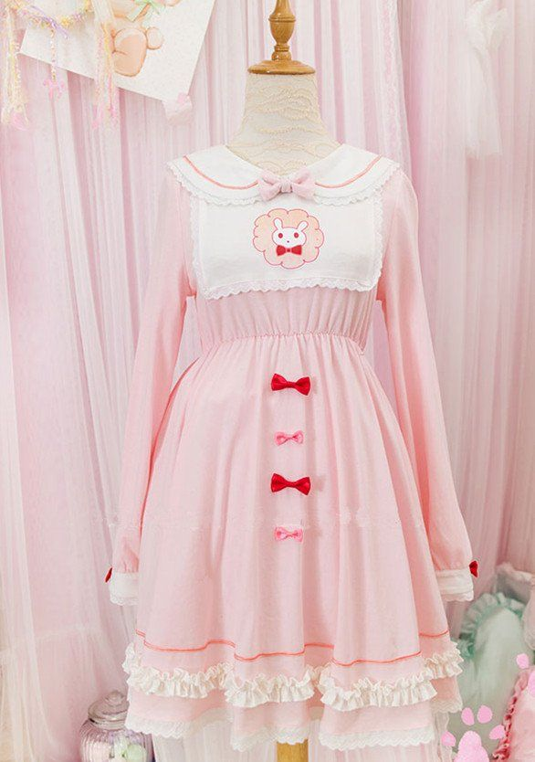 [Reservation] Pink Lovely Lolita Bowknot Sailor Dress SP178968