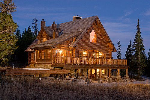 Log cabin in the woods for Cabin builders montana
