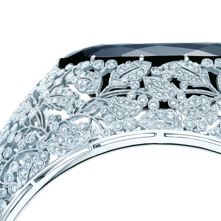 Tiffany & Co. floral bangle of black onyx, diamonds and platinum. From The Great Gatsby Collection. #TiffanyPinterest