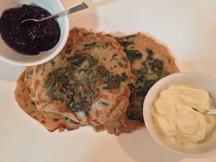 Vegetarian spinach pancakes: http://forkandkniv.com/vegetarian-spinach-pancakes-spelt-flour/