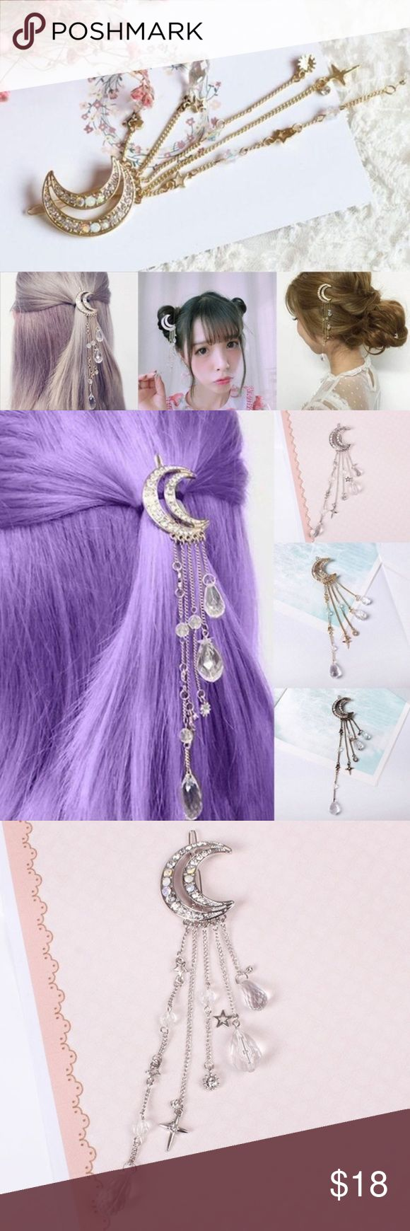 🌟New list! 🌙 Beautiful crescent and star clip Your choice of color while supplies last! All of the colors are equally flattering and beautiful with a wonderful shine! The perfect addition to your wardrobe! The clip is perfect for any occasion and a compliment to any outfit! Accessories Hair Accessories