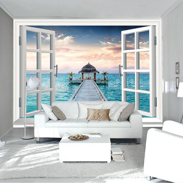 Best 3D Window Wall Mural Ocean Photo Wallpaper Personalized 640 x 480