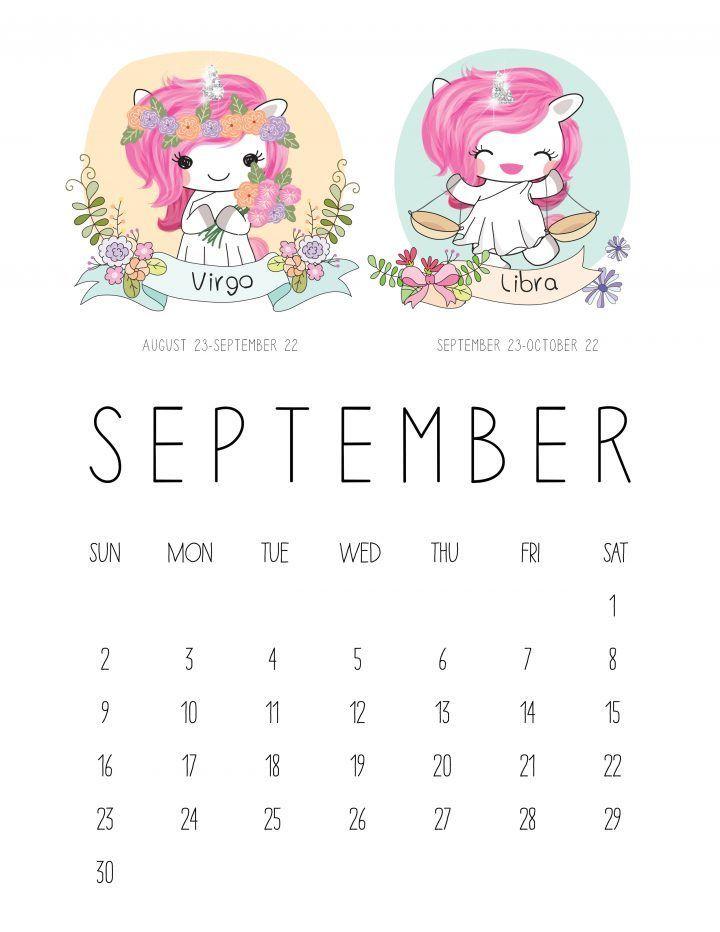 Cute September 2018 Pink Calendar with Zodiac Sign September