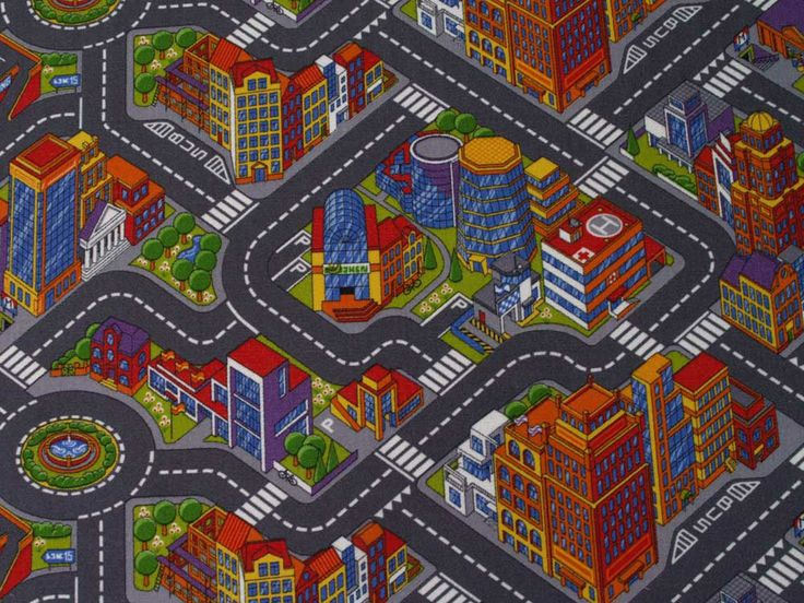 Strassenteppich für Kinder | Spielteppich Abenteuer Stadt