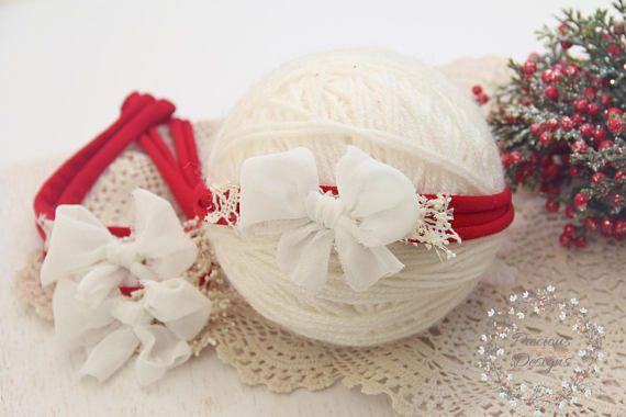 Christmas Bow Tieback Newborn Bow Tieback Newborn Tie Back