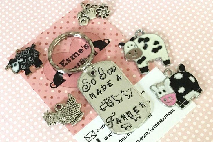 Farm key ring, farm gift, Farmer gift, Hand Stamped, Key Chain, Gift for her, Gift for him, tractor, farm,  on the farm, uk seller by EBMetalStampingCraft on Etsy https://www.etsy.com/uk/listing/590280501/farm-key-ring-farm-gift-farmer-gift-hand #farmer #tractor #onthefarm #handstamped #giftforhim #giftforher #etsy