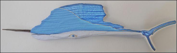 Driftwood Blue Marlin ... Driftwood painting fish ... Mavi marlin balığı ... www.facebook.com/groups/ergeturkaydin/