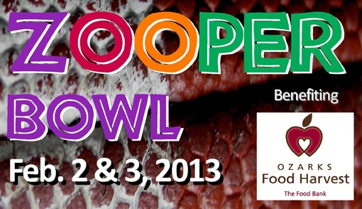 Zooper Bowl food drive. Donate two non-perishable food items at Dickerson Park Zoo for Ozarks Food Harvest and receive half-priced zoo admission on Saturday and Sunday, Feb. 2 and 3.