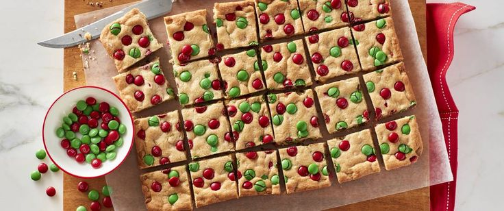 This bar is perfect to round out your cookie exchange -- colorful holiday chocolate candies, white vanilla baking chips and sugar cookie mix makes this a snap to make and bake.