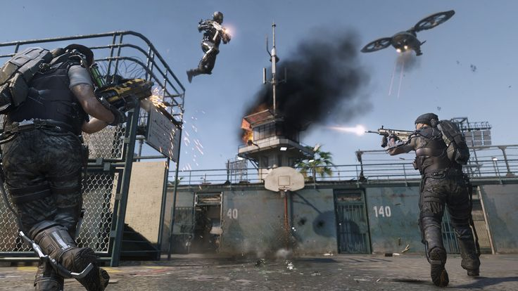 screenshot from military first-person shooter Call of Duty: Advanced Warfare, looking stunning in 4K resolution.