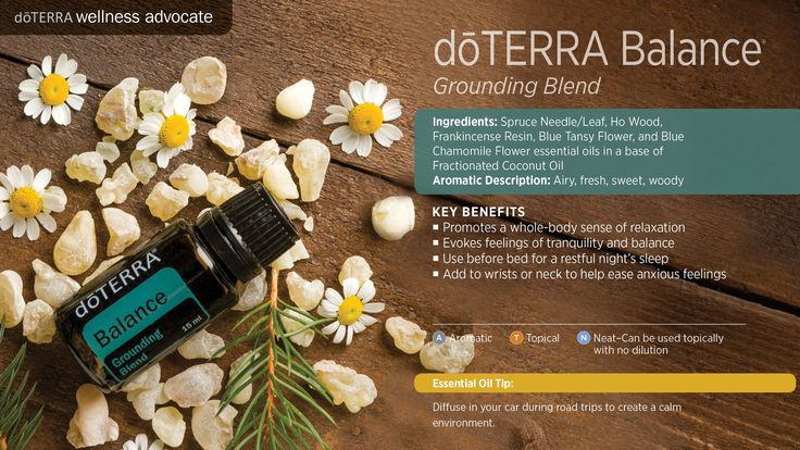 This essential oil blend smells like you're standing in a forest. It has a very grounding (relaxing) effect! You can use throughout the day to lessen stress or at night to promote a good night's sleep.