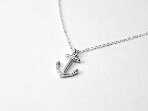 Anchor necklace small silver anchor necklace tiny ancor by Omoroka, $33.00