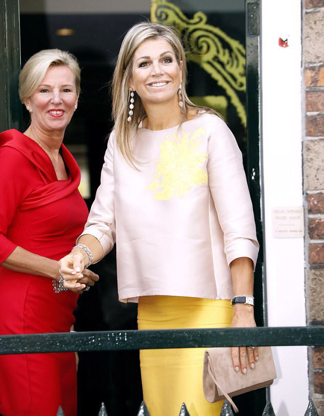 24 August 2017 - (R) Dutch Queen Maxima arrived to celebrate the 650th Anniversary of the Bartholomeus Gasthuis, which is an iconic guesthouse dating back to 1367 & now houses the elderly.