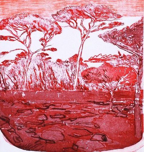 Brian Bourke: Red Landscape, etching,  €500