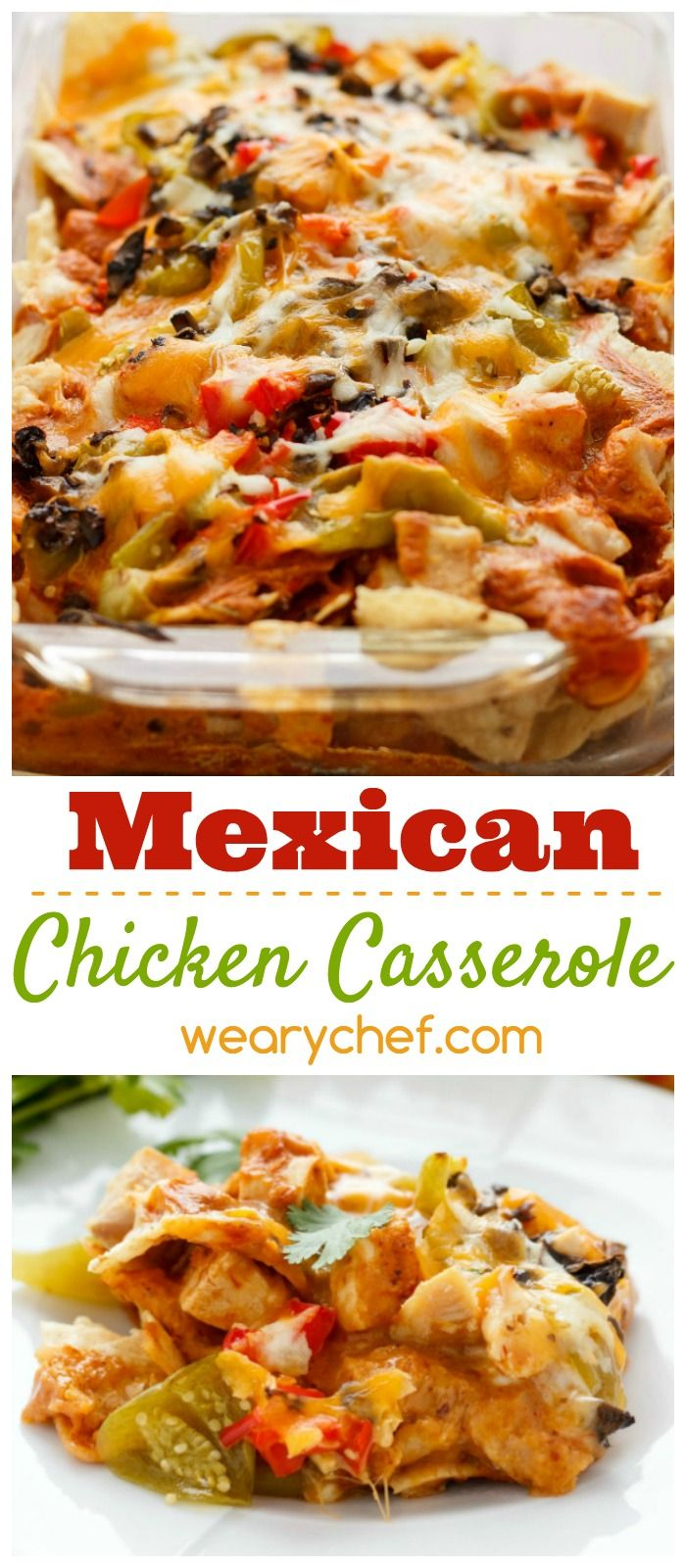 Dive into this Mexican Chicken Casserole loaded with cheese, tomatillos, and tortilla chips!